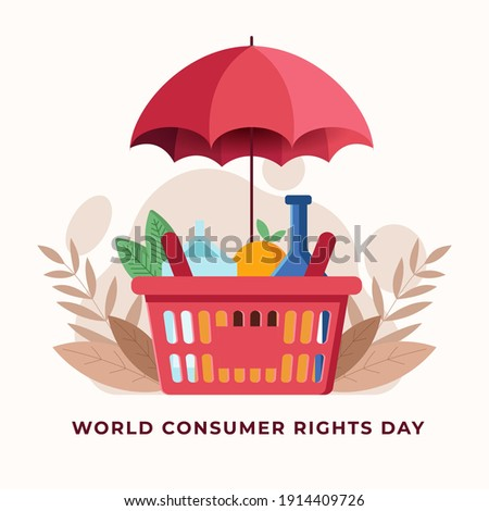 World consumer rights day illustration with shopping basket and umbrella Vector illustration.