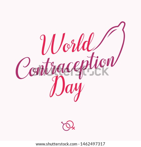 World contraception day letter with condom in flat style. Holidays around the world of contraception day. Vector illustration EPS.8 EPS.10