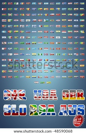World countries abbreviations with flag inserts EPS10 compatible vector