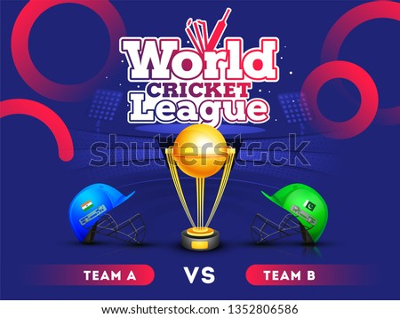 World cricket league concept with India vs Pakistan match banner or poster, cricket attire helmets of respective country and winning trophy on stadium background.