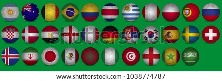 World Cup 2018, all qualified teams flags. 32 team