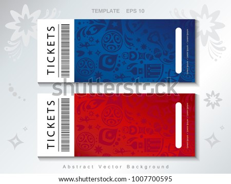 World Cup Soccer competition tickets concept design abstract pattern set, russian flag red, white, blue color, sport elements, soccer ball, award cup football icons, soccer players, vector template.