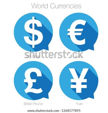 World currencies sign symbol set vector