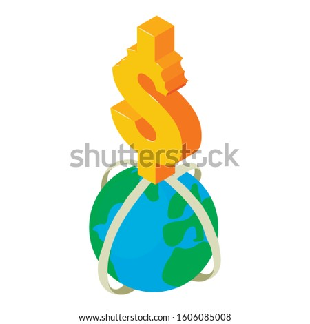 World currency icon. Isometric illustration of world currency vector icon for web