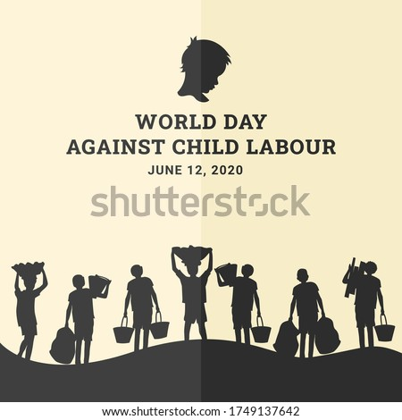 World day against child labour background with children as labors in black silhouette. Flat style vector illustration concept of child abuse and exploitation campaign for poster and banner.