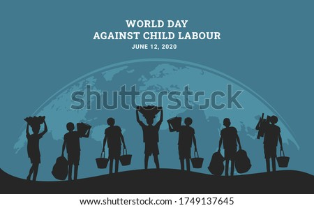 World day against child labour background with curved world map and children working silhouette. Flat style vector  illustration concept of child exploitation campaign for poster and banner.