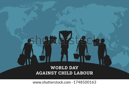 World day against child labour background with world map and children in black silhouette. Flat style vector illustration concept of child abuse and exploitation campaign for poster and banner.