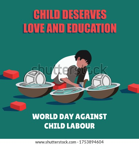 World day against child labour, Child labour in India,Stop child labour, Child worker washing utensils.