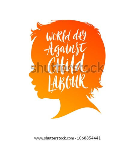 World day against child labour poster. Vector illustration. Child head silhouette with brush calligraphy type design.