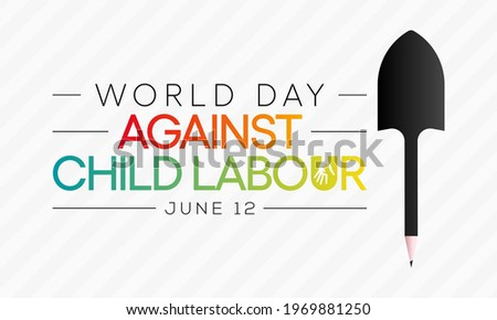 World day against Child Labour (WDACL) is observed every year on June 12, aiming to raise awareness and activism to prevent child Labour. Vector illustration.