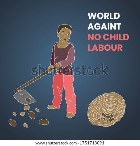 World day against no child labour, stop child labour, child labour in India and world. Child holding hoe and collecting pebbles.
