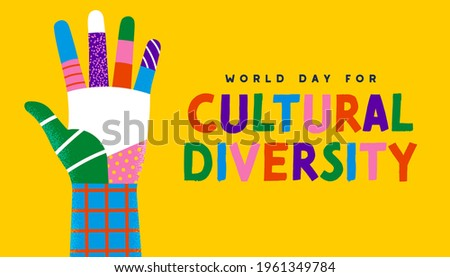World Day for Cultural Diversity greeting card illustration of colorful diverse people hand. Social community help concept. Different culture holiday event on 21 may.