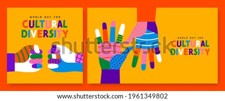 World Day for Cultural Diversity greeting card set of colorful diverse people hand. Social community help concept. Different culture holiday event on 21 may.