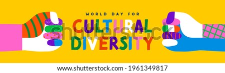 World Day for Cultural Diversity web banner illustration of colorful diverse friend hands doing fist bump gesture together. Different culture holiday event on 21 may.