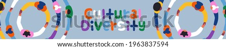 World Day for Cultural Diversity web banner illustration of colorful diverse people group holding hands together in big round circle. Different culture friend team concept, may 21 holiday.