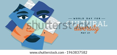 World Day for Cultural Diversity web banner illustration of diverse people faces paper collage. Man and woman culture identity concept. Social holiday event on 21 may.