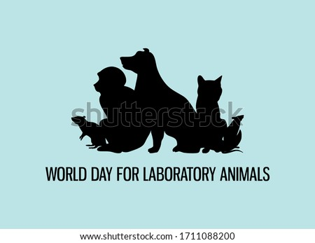 World Day for Laboratory Animals vector. Laboratory animals black silhouette vector. Group of experimental animals vector. Experimental animal icon. Stop animal testing icon. Important day