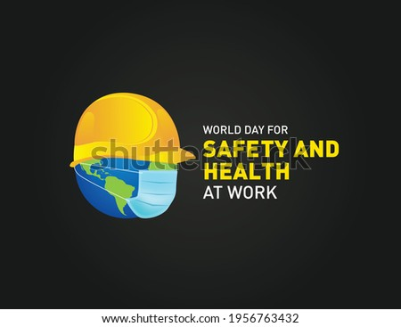 World Day for Safety and Health at Work concept.The planet Earth and the helmet symbol of safety and health at work place. Safety and Health at coronavirus pandemic time.