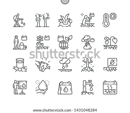 World Day to Combat Desertification and Drought Well-crafted Pixel Perfect Vector Thin Line Icons 30 2x Grid for Web Graphics and Apps. Simple Minimal Pictogram