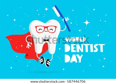 World Dentist Day. Vector illustration of funny tooth with a toothbrush. Lettering. Great holiday gift card. Stomatology