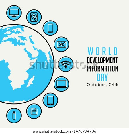 World Development Information Day with Globe and technology Information icon