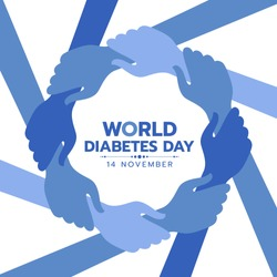 World Diabetes Day Awareness banner with blue hand hold hand around circle frame vector design