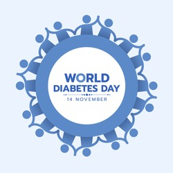 World Diabetes Day Awareness banner with blue people hold hand around circle frame vector design