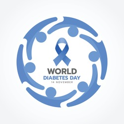 World diabetes day banner with blue ribbon sign and Group of People Hugging Together around circle sign vector design