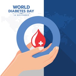 world diabetes day banner with hand hold red blood drop water in blue circle ring sign on map earth world texture background vector design