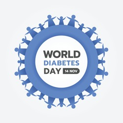 world diabetes day with blue family hand hold hand around circle frame and blue ring circle frame vector design