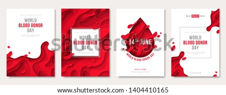 World donor day set of posters or invitations, medical design with 3d paper cut shapes and red drop. Vector illustration. Place for text. Blood Donation Lifesaving and Hospital Assistance
