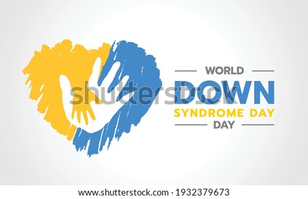 world down syndrome day - adult and child hands care sign in yellow and blue ink brush heart sharp vector design Stockfoto ©