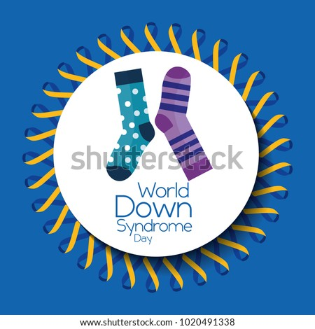 world down syndrome day banner ribbon frame circle socks decoration