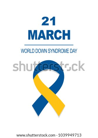 World Down Syndrome day card 21 march. Blue and Yellow Ribbon for World Down Syndrome Day on the white background .vector illustration .Medical concept