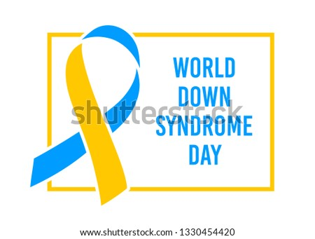 World Down Syndrome day. March 21. Blue yellow ribbon symbol. Template for poster. Vector illustration.