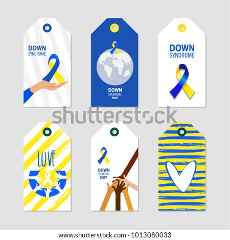 World Down Syndrome Day. Symbol of Down Syndrome awareness. Medical vector illustration. Health care. Set of card, invitation, poster design templates. Collection of design elements
