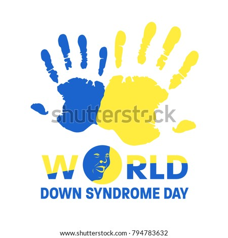 World down syndrome day with Blue and Yellow hand paint sign and face down syndrome sign vector banner design