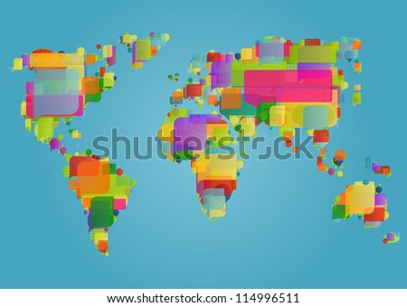 World ecology map made of colorful speech bubbles concept illustration background vector