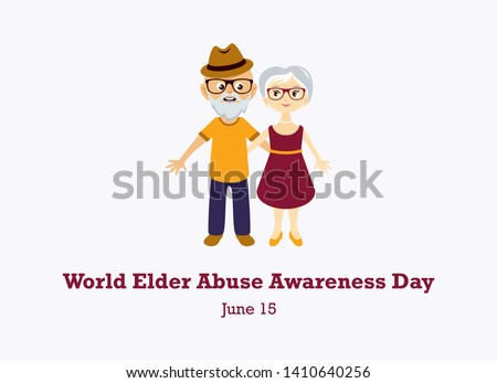 World Elder Abuse Awareness Day vector. Elderly couple in love vector. Elderly cartoon character. Abused seniors vector illustration. Elderly couple icon. Important day