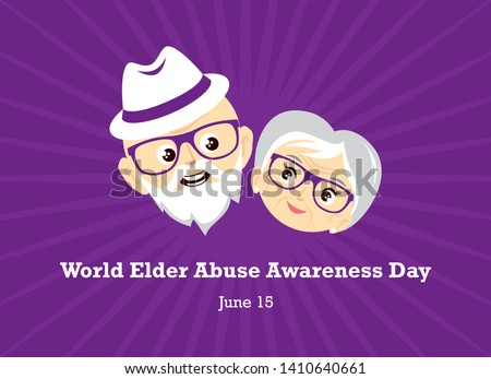 World Elder Abuse Awareness Day vector. Face of a happy senior vector. Elderly couple in love vector. Elderly cartoon character. Abused seniors vector illustration. Elderly couple icon. Important day