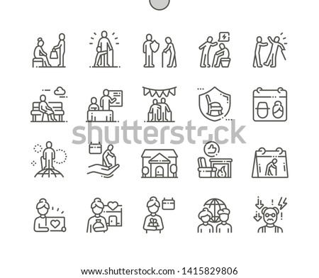 World Elder Abuse Awareness Day Well-crafted Pixel Perfect Vector Thin Line Icons 30 2x Grid for Web Graphics and Apps. Simple Minimal Pictogram