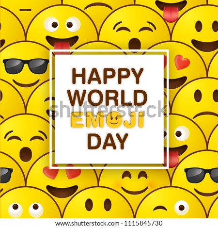 World emoji day greeting card design template with emoji background pattern