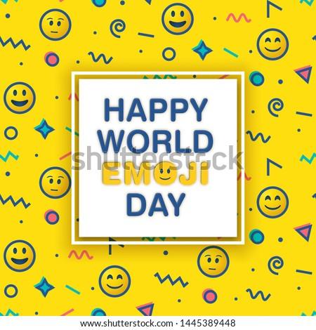 World emoji day greeting card design template with emoji background pattern