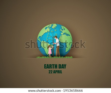 World environment and earth day concept with dad and daughter plant a tree,paper cut , paper collage style with digital craft .