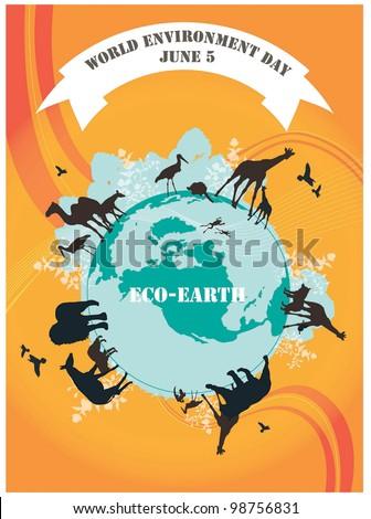 World Environment Day - black animals on beautiful blue ECO EARTH on orange background : vector illustration