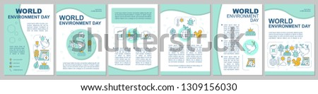 World environment day brochure template layout. Flyer, booklet, leaflet print design. Green technology and alternative energy. Environmental issues. Vector page layouts for magazines, reports, posters
