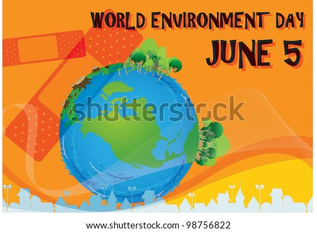 World Environment Day -  Care for blue planet from global warming and pollution on orange background : vector illustration