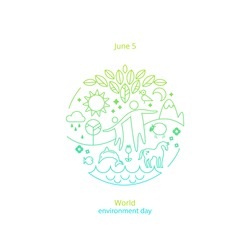 World environment day concept. Different symbols of environment in the circle