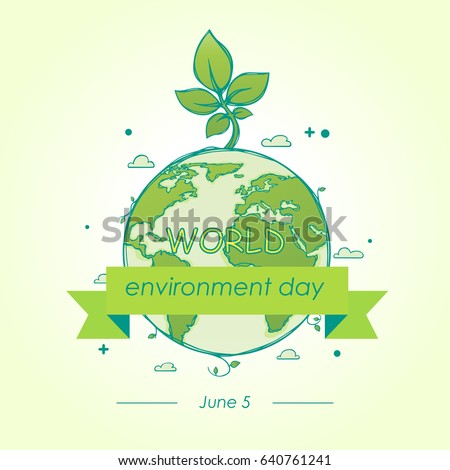 World Environment Day concept of the mother earth with sprouts on a beautiful background. Vector illustration with the inscription. A cartoon sketch. 5 June.