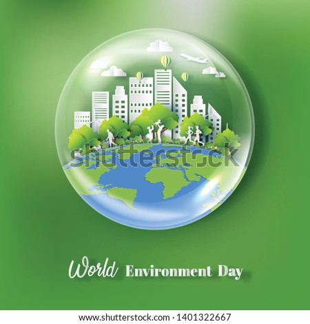 World Environment Day concept, water bubble with people and city, paper art and craft style, flat-style vector illustration.